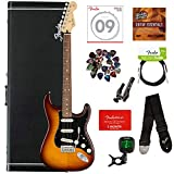 Fender Player Stratocaster Plus Top - Tobacco Sunburst Bundle with Hard Case, Tuner, Strap, Instrument Cable, Strings, Picks, Capo, Fender Play Online Lessons, and Austin Bazaar Instructional DVD
