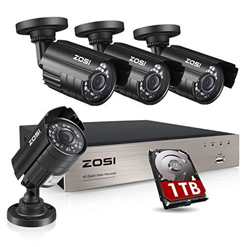 ZOSI SISTEMA CAMARAS VIGILANCIA HD-TVI 1080N/720p DVR 8 CANALES 4x HD 1280TVL CTTV (Sin Disco duro)