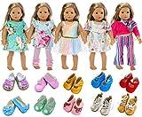 ZITA ELEMENT American 18 Pouces Doll Vêtements et Accessoires 5 Tenues et 2 Chaussures (Style Aléatoire) pour Poupées de 18 Pouces (45 - 46 cm)