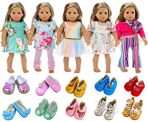 ZITA ELEMENT 7 Stück Puppenzubehör für 43-46cm Babypuppe und 18 Zoll American 18 inch doll Doll Puppe Kleidung Puppenbekleidung 5er Kleider mit 2 Paare Schuhe Puppenkleidung Puppenkleider