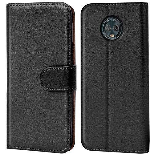 Verco Moto G6 Plus Hülle, Handyhülle für Motorola Moto G6 Plus Tasche PU Leder Flip Hülle Brieftasche - Schwarz