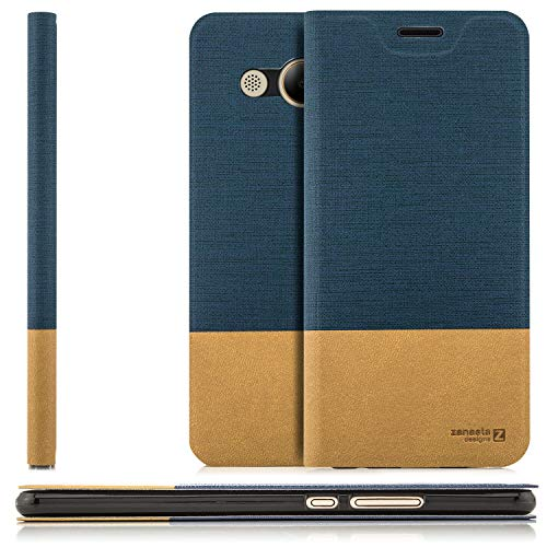 zanasta Tasche kompatibel mit Huawei Y3 2017 mit Kartenfach Hülle Flip Hülle Slim Schutzhülle Handytasche, Standfunktion | Blau
