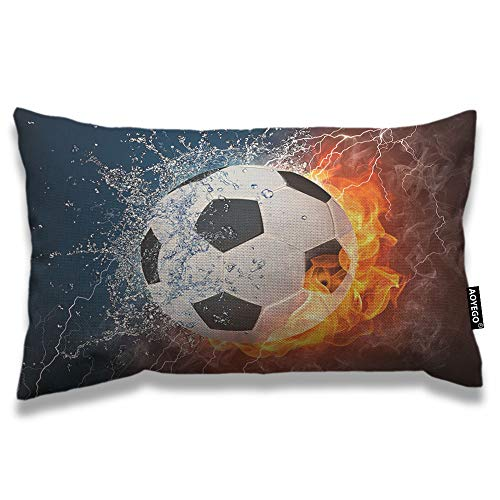 AOYEGO Soccer Throw Pillow Cover 12x20 Inch Sport Football in Burning Fire and Water Spark Lightening Circle Game Rectangle Pillow Cases Home Decorative Cotton Linen Cushion Cover for Bed Sofa
