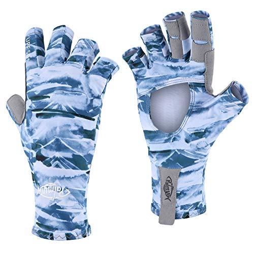 Palmyth UV Protection Fishing Fingerless Gloves UPF50+ Sun Gloves Men Women for Kayaking, Hiking, Paddling, Driving, Canoeing, Rowing (Air Mountain Sky, Small)