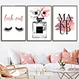 Makeup Poster Nordic Perfume Canvas Wall Art Fashion Eyelash Canvas Print Painting Bottle Pictures for Living Room Modern Decoration 20x28inchx3 No Frame