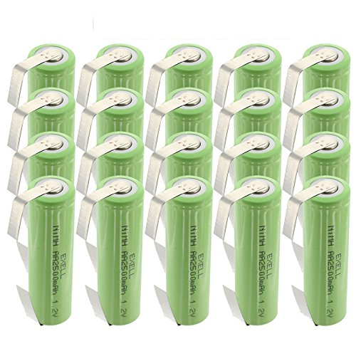 20x Exell AA Size 1.2V Rechargeable 2500mAh NiMH Batteries w/Tabs for use with cameras, camcorders, mobile phones, pagers, medical instruments/equipment, high power static applications FAST USA SHIP