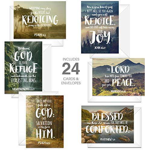 Beautiful Scenery Sympathy Card Pack / 24 Comforting Bible Verse Cards And Envelopes/Serene Religious Condolence Cards