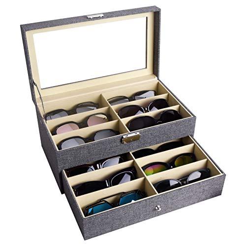 AUTOARK Sackcloth Brillenbox zur Aufbewahrung von 12 Brillen und Sonnenbrillen Präsentation Showcase,abschließbar,Grau,AW-096