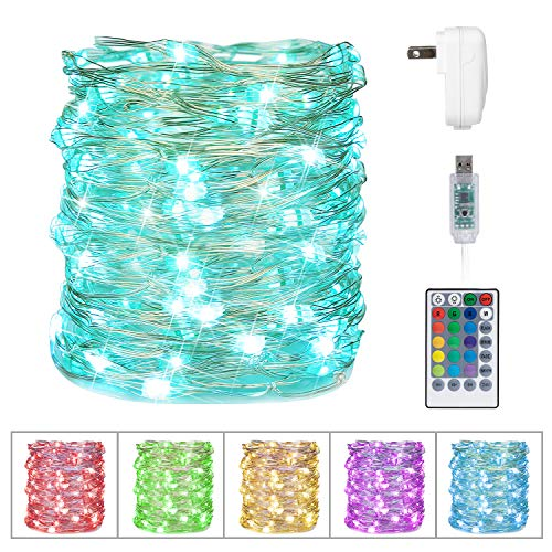 Minetom USB Fairy String Lights, 33Ft 100 LED Waterproof Color Changing Twinkle Lights with 4 Lighting Modes Remote and Power Adaptor for Craft Bedroom Ceiling Wedding Christmas, 16 Colors