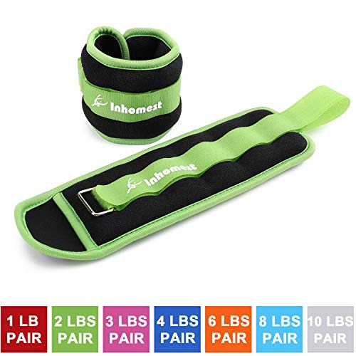 Ankle Weights for Women and Men - Strength Training Wrist/Leg/Arm Weight Set with Adjustable Strap for Jogging, Gym, Aerobics, Physical Therapy, Resistance Training (Green - 2 lbs Pair)