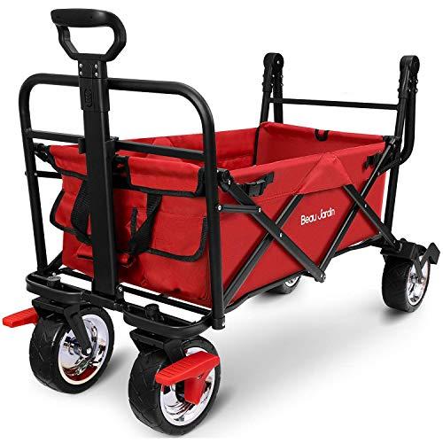 BEAU JARDIN Carretillas de Carro Plegable con Freno con Carro Plegable de Mano Carro Transporte para jardín Carro para Playa Carga hasta 80kg Rojo