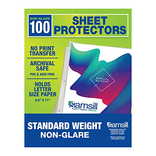 Samsill 100 Sheet Protectors, Economy Weight Non-Glare Page Protectors for 3 Ring Binder, 1.97 MIL Thick Top Loading, Acid Free, Box of 100