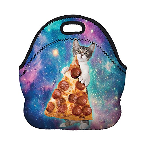 Boys Girls Kids Women Adults Insulated School Travel Outdoor Thermal Waterproof Carrying Lunch Tote Bag Cooler Box Neoprene Lunchbox Container Case (Cat Take Pizza)