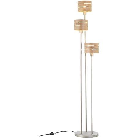 BRILLIANT lampadaire Darill lampadaire 3 lumières nickel mat/bois clair  3x A60, E27, 60W, lampes normales gf non spécifiées  Avec interrupteur à pied  Convient aux lampes LED