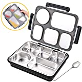 Moikin Bento Lunch Box, Leak-Proof Leakproof Entree Insulated 5 Compartment Lunch Boxes Container with Spoon, BPA Free Stainless Steel Food Storage for Men, Women, Adults, Kids