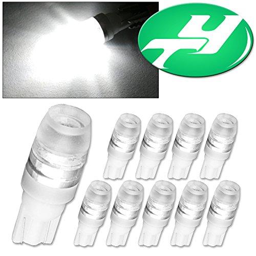 YINTATECH 10pcs T10 1W Wedge High Power LED Light Bulbs 194 168 192 921(White)