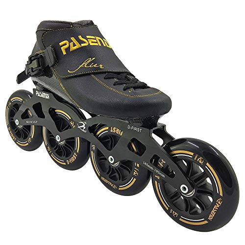 PASENDI Speed Skating Shoes Children's Professional Roller Skates Carbon Fiber Inline Skate Shoes 4 Wheels Skates for Men and Women (Black, US7.5/EU40)