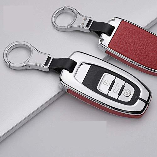HUAQIANYU Car Accessories Key Shells,Car Key Cover Case Keychain ,Metal Leather Car Key Protector Cover For Audi A1 A3 A4 A5 A6 A7 A8 Quattro Q3 Q5 Q7,C,Black BlackC-Silver Red