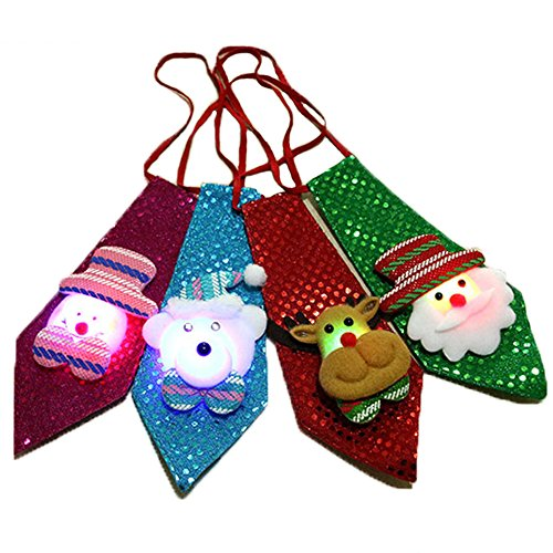 FashionYoung FY 4 Pezzi Unisex Adulti Bambini Papillon Cravatta Babbo Natale Pupazzo di Neve Alce Tridimensionale Modello Decorazione di Natale Decorazione Regalo Travestimento Foto squisiti