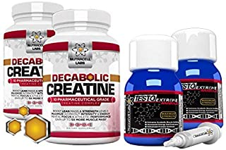 Nutracell Labs 2 Month Anabolic Muscle Stack: Testo Extreme Anabolic & 10 Blend Decabolic Creatine - Strongest Legal Testosterone Booster / Creatine Powder
