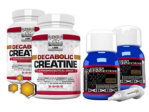 Nutracell Labs 2 Month Anabolic Muscle Stack: Testo Extreme Anabolic & 10 Blend Decabolic Creatine - Strongest Legal Testosterone Booster/Creatine Powder