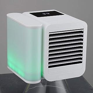 LLEH Ventilador de sobremesa portátil, Ventilador de Aire Acondicionado Mini USB 3 en 1 con 7 Luces de Colores - Refrigeración - Humidificar - Depuración - 1000 ml de Gran Capacidad
