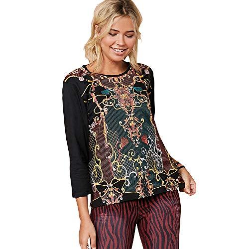 VENCA Camiseta Estampado Frontal con Foil Mujer - 031164,Negro,S