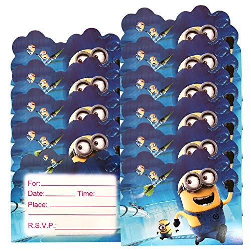 Qemsele Einladungskarten Kindergeburtstag, 30 Stück Einladung & Umschlägen Mädchen Jungs Geburtstag Einladungskarte Englisch Kinder Geburtstagseinladungen Mitgebsel Themenparty lädt EIN