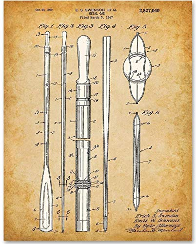 Boat Oar - 11x14 Unframed Patent Print - Makes a Great Gift Under $15 for Cabin/Lake House Decor