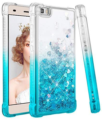 wlooo Glitzer Hülle kompatibel mit Huawei P8 Lite, handyhülle Huawei P8 Lite Glitzer, Flüssig Treibsand Glitter Gradient Quicksand Weich TPU Bumper Silikon Schutzhülle Case Cover (Gradient Teal)