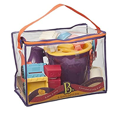 B. toys ? B. Ready Beach Bag ? Beach Tote with Mesh Panel and 11 Funky Sand Toys ? Phthalates and BPA Free ? 18 m+, Purple Bucket