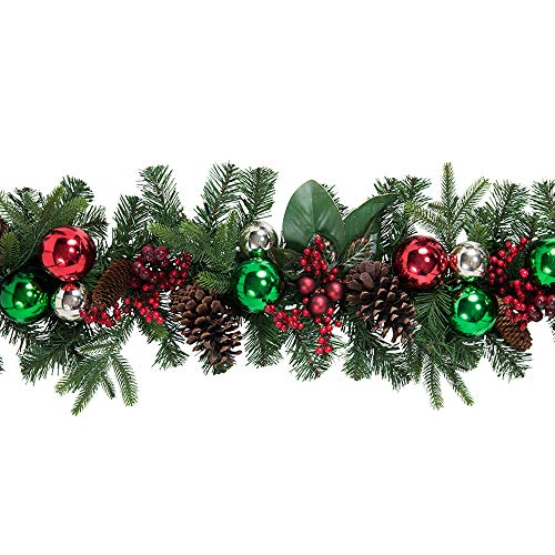 Aspen Valley Christmas 9' Christmas Traditions Garland with 100 Battery Powered LED Lights