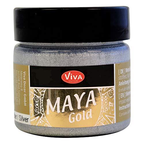Viva Decor® Maya Gold (Silber, 45 ml) Metallic Farben - Malfarbe - Glanzfarben zum basteln - Acryl Farben glänzend für Holz, Pappe, Beton, Papier, Leinwand uvm.