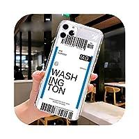 Fundas For Apple iPhone 11 12 Pro Max 7 8 Plus 12mini SE2020ケースカバーソフトTPUエアチケットレターラベルカントリーフォンケース -07-For iPhone 11