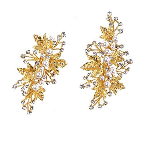 Missgrace Bridal Crystal Leaf Rose Gold Hair Pins Women Crystal Headpiece Wedding Rose Gold...