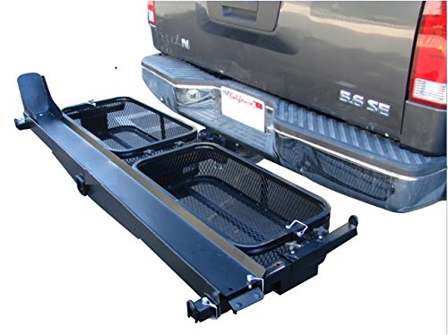 Single Dirt Bike E-Bike Scooter Motorcycle Tow Hitch Carrier Rack Trailer with Storage Cargo Baskets for Gas Can and Loading Ramp