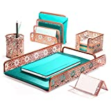 Hudstill Rose Gold Cute Desk Organizer Set for Women and Girls in Pretty Design with 5 Office Supplies Accessories : File Tray, Mail Sorter, Pen Cup, Holders for Sticky Notes, Business Cards or Phones