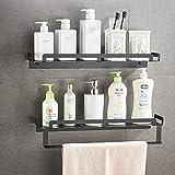 Cuarto de baño Estante de almacenamiento, auto adhesivo de montaje en pared Organizador de ducha, barra de toalla rack rieles, estantes de baño Accesorios de almacenamiento,50CM