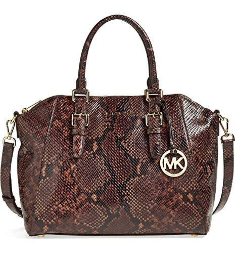 """Genuine python embossed leather Double handles with 5 1/4"""" drop; optional adjustable shoulder strap with 20"""" drop Top zip closure; gold tone hardware Interior features back wall zip pocket, 4 slip pockets, key keeper Approximate dimensions: 15""""W x 10..."""