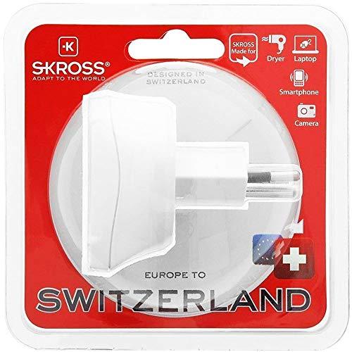 Skross 1.500205 Europe to Switzerland, Adaptador de viaje para viajar desde Europa a países que utilizan la norma suiza. Enchufe de salida: Suiza, Blanco
