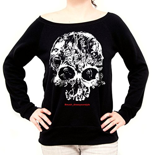 MUSH Felpa Fashion Zombies Skull - The Walking Dead - Film by Dress Your Style - Donna-L-Nera