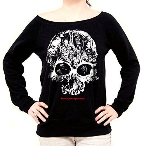 MUSH Felpa Fashion Zombies Skull - The Walking Dead - Film by Dress Your Style - Donna-L-Nera