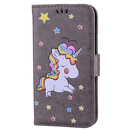Ailisi Cover Samsung Galaxy S5, Unicorno Bling Glitter Flip Cover Custodia Caso Libro Pelle PU e TPU Silicone con Funzione Supporto Chiusura Magnetica Portafoglio - Grigio