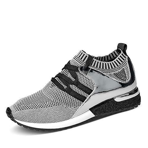 La Strada 1806936 Sneaker Silver Knitted Metallic 38