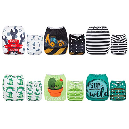 ALVABABY 6 Pack with 12 Inserts Baby Diaper Pocket Cloth Diapers Reusable Washable Adjustable for Baby Boys and Girls 6DM35