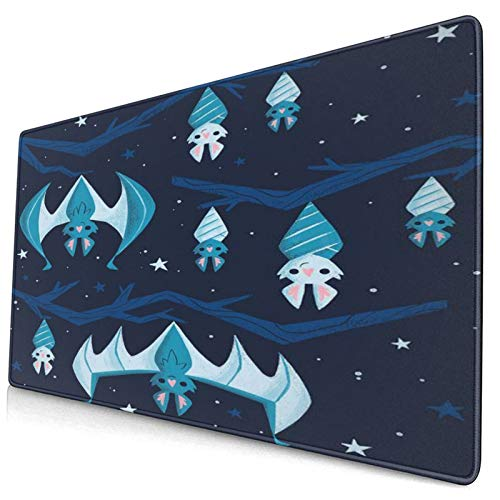 CANCAKA Large Gaming Mouse Pad,Cute Hand Drawn Cartoon Picture,Mysterious Beautiful Starry Sky and Bat Hanging Upside Down On The Branch,Non-Slip Rubber Mouse Pads Mousepad for Gaming Computer