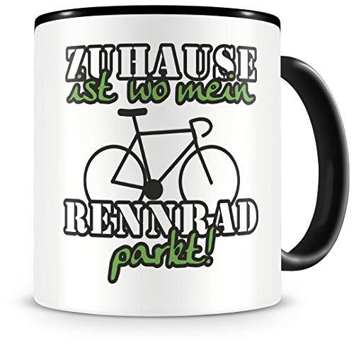 Samunshi® Rennrad Tasse mit Spruch Zuhause ist Rennrad Geschenk für Rennrad Fans Kaffeetasse groß Lustige Tassen zum Geburtstag schwarz 300ml