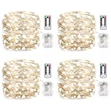 LEDIKON 4 Pack 26.5FT 80 LED Fairy Lights Battery Operated Mini String Lights with 8 Modes Remote Control and Timer,Waterproof Firefly Twinkle Lights for Bedroom Wedding Chirstmas Decor(Cool White)