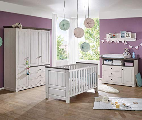 K & G Moebel GmbH Babyzimmer 5tlg. Kleiderschrank Baby/Kinderbett Wickelkommode Wandregal Kiefer