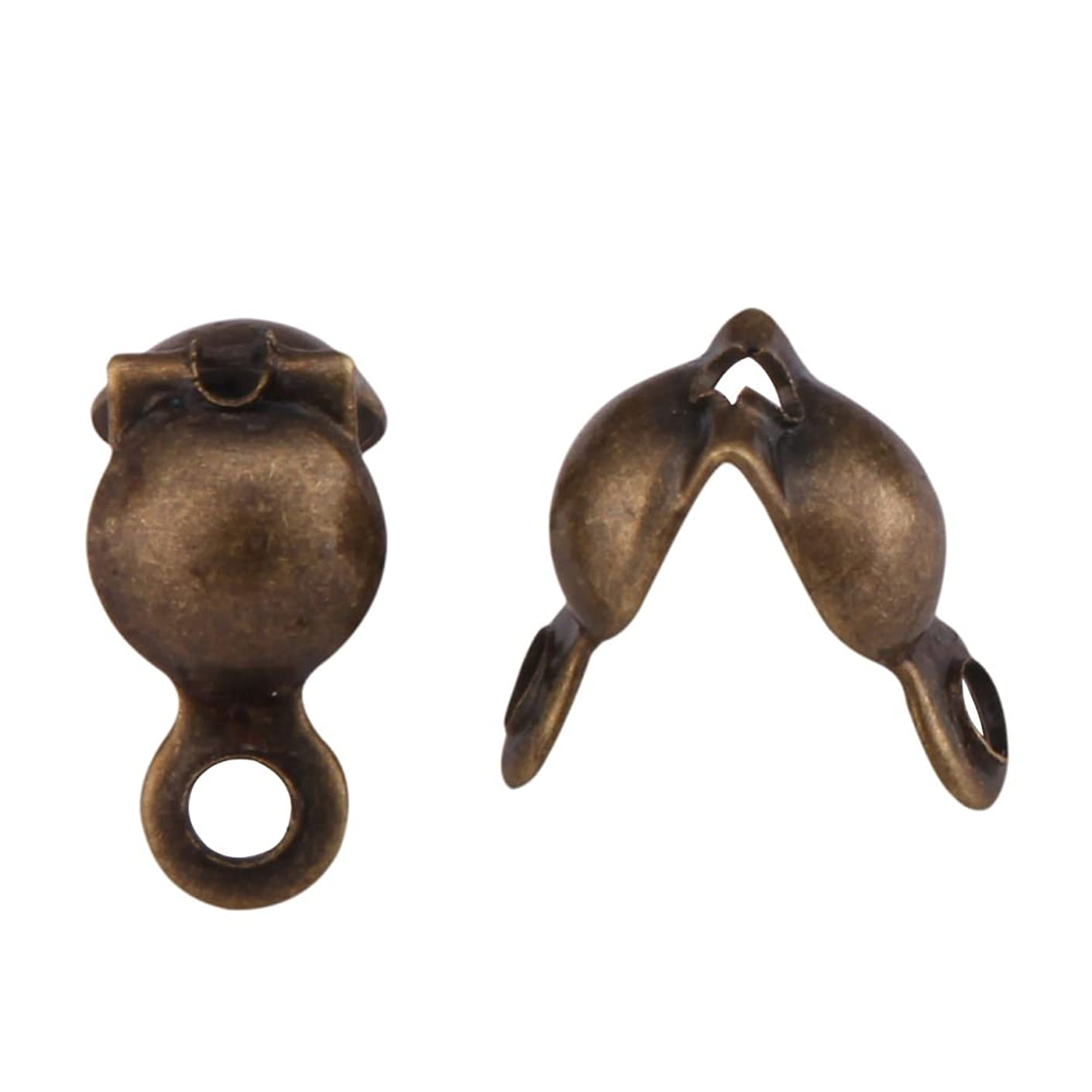 200pcs Top Quality Clamshell Calotte Endcaps Knot Cover 8mm Antique Bronze Plated Brass Bead Tips for Jewelry Craft Making CF49